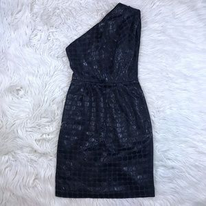Maggy London 8 Navy Polka Dot One Shoulder Dress